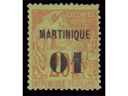 Martinik, 1888, 01C/20C Alegorie, MiNr.3, reparovaný lep, dv