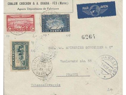 Maroko, 1937, DR Fes Ville, let. dopis zaslaný do Prahy