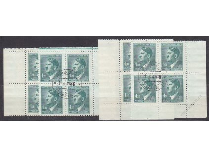 1945, 4.20K A.Hitler, roh. miniatura ve 4blocích, Nr.122, razítkované
