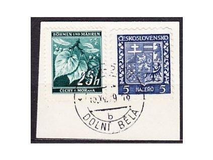A-1939, výstřižek se smíš fr. zn. 5h Znak a 25h Ratolest, razítko DOLNI BELA