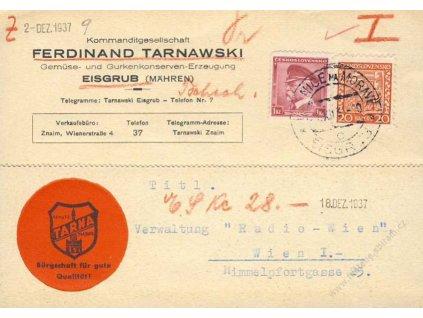 1937, DR Hranice na Moravě, firemní lístek