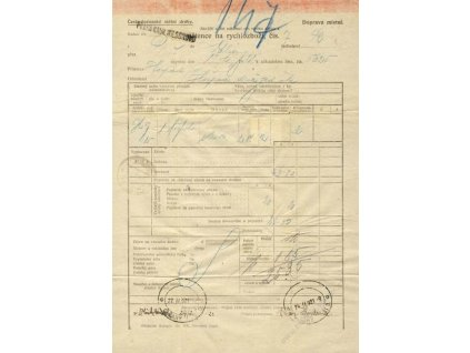 1921, DR Olšany na dr. Wilsonově, Spěšninový list