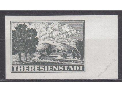 Terezínská známka, nezoubkovaná, falzum, krajový kus, **