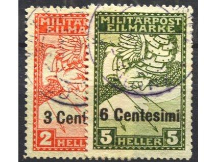 Itálie, 1918, 3C/2H-6C/5H Spěšná série, razítkované