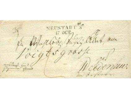 Neustadt, skládaný dopis z roku 184?, horší jakost
