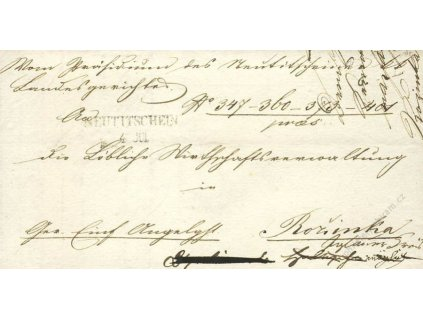 Neuttischein, skládaný dopis z roku 1850