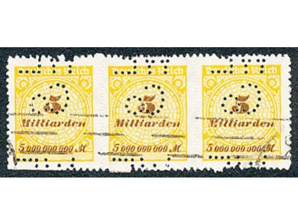 Německo, 1923, 3páska známek