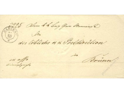 Namiest, skládaný dopis z roku 1851