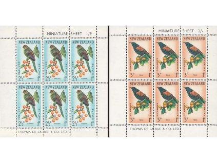 Nový Zéland, 1962, aršíky Fauna, MiNr.Kl.422-23, ** , drobný fald