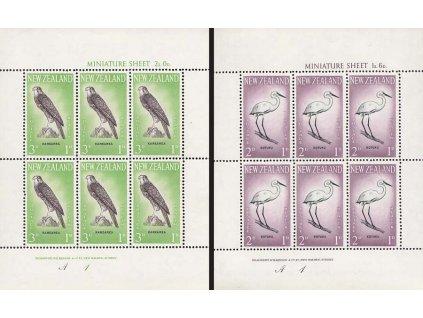 Nový Zéland, 1961, aršíky Fauna, MiNr.Kl.416-17, ** , drobný fald