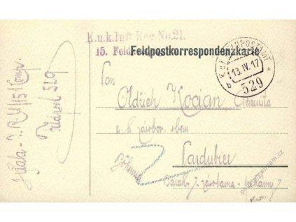 No.529b, lístek PP, zasláno v roce 1917 do Čech