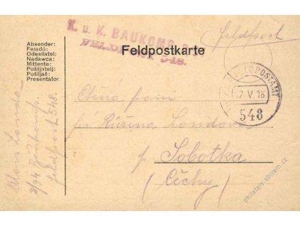 No.548, lístek PP, zasláno v roce 1918 do Čech