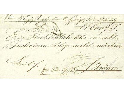 Olmutz, skládaný dopis z roku 1836