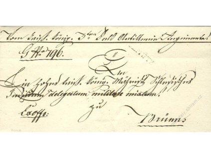 Olmutz, skládaný dopis z roku 1829