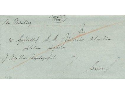 Oedenburg, skládaný dopis z roku 1824