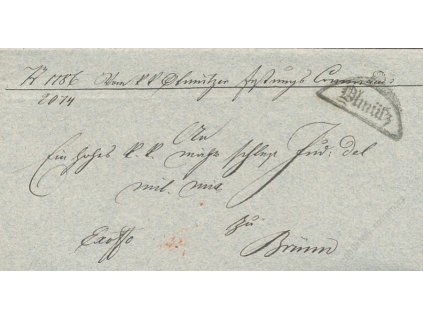 Olmutz, skládaný dopis z roku 1826