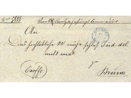 Olmutz, modré razítko, skládaný vojenský dopis z roku 1848