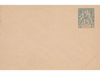 Obock, 1892, celinová obálka 5C Alegorie, neprošlé, dv roh