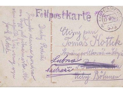 No.553a, pohlednice zaslaná v roce 1918 do Čech