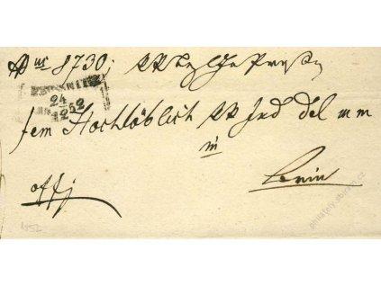 Prossnitz, skládaný dopis z roku 1852