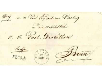 Piesling + Recom, skládaný dopis z roku 1851