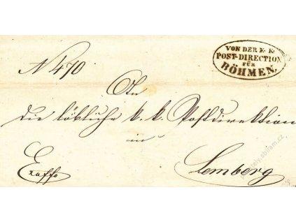 Post-Direction fur Bohmen, dopis z roku 1863
