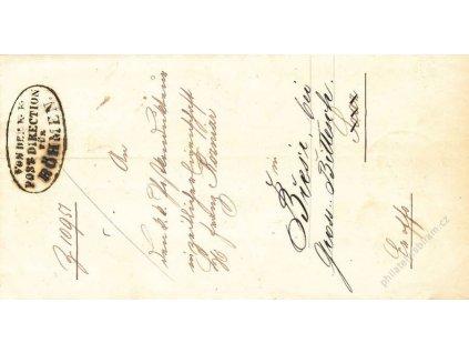 Post-Direction fur Bohmen, dopis z roku 1868