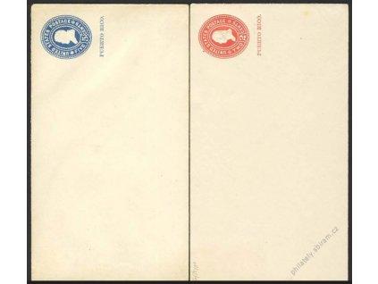 Puerto Rico, 1900, 2 ks obálek 2 a 5C, neprošlé