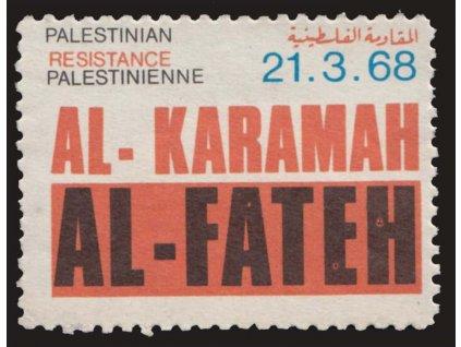 Palestina, 1968, AL-FATEH, propagační nálepka, **