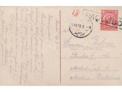 Port Said, pohlednice vyfr. zn. 1P Jiří V., DR Port Said + PAQUEBOD