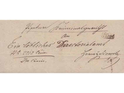 Pisek, skládaný dopis z roku 1849