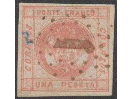 Peru, 1858, 1Peseta Znak, MiNr.7, razítkované, zeslabení