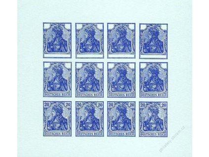 1920, 20Pf Germanie, facsimile na modrém papíru