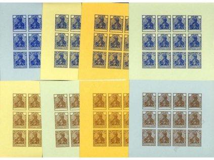1920, 20Pf Germanie, 8 ks facsimile na různých papírech