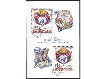 1980, 4Kčs aršík OSN, razítko FDC, katalog Pofis Nr.A2442, lep **
