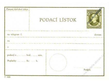 CPL 5, Podací lístek na telegram, černý přetisk