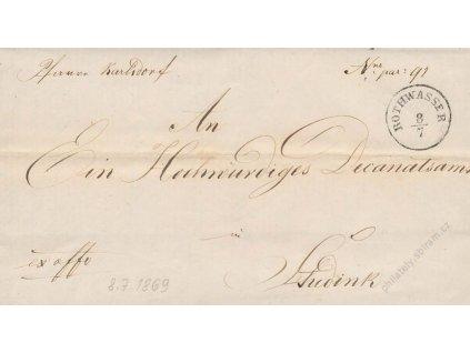 Rothwasser, skládaný dopis z roku 1869