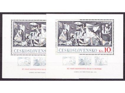 A-1981, aršík 10Kčs.P.Picasso, 2ks aršíků, s a bez křížků, Nr.2496, **