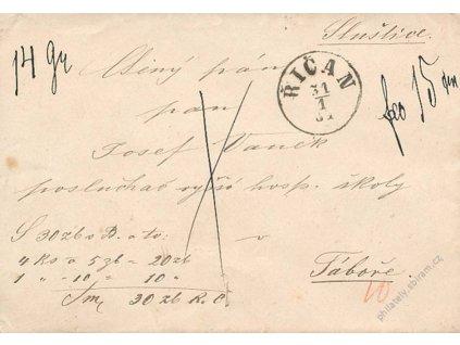 Říčan, cenný dopis, obálka z roku 1881