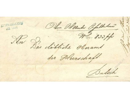 Schelletau, modré razítko, dopis z roku 1848