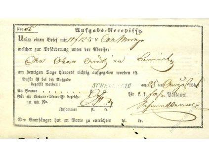 Schelletau, modré razítko, recepis z roku 1846, stopy stáří