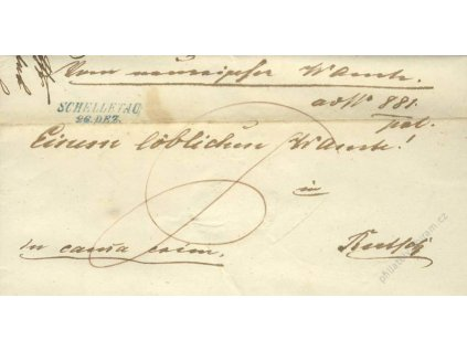 Schelletau, modré razítko, dopis z roku 1843