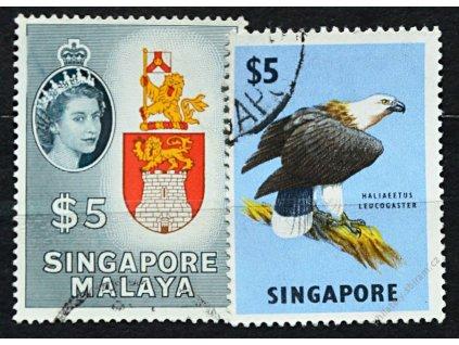 Singapur, 1955/62, 5Dolarů Znak a 5Dolarů, razítko