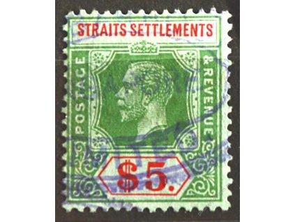 Straits Settlements, 1912, 5Dolarů Jiří, razítko
