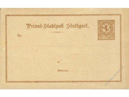 Stuttgart, dopisnice 2Pf, neprošlá, cca 1890, dv