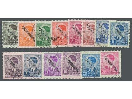 Serbien, 1941, 0.25-30Din série, chybí 8Din,  razítkované