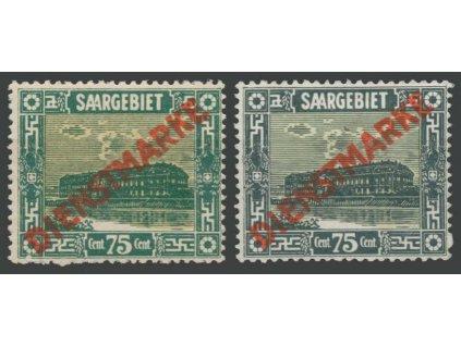 Saar, 1922/23, 75C služební, 2 kusy,  MiNr.10I,15I, různé *