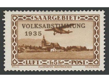 Saar, 1934, 5Fr letecká, MiNr.198, těžší *