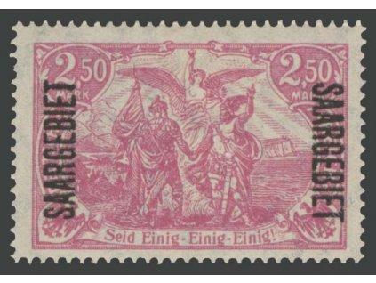 Saar, 1920, 2.50M karmínová, MiNr.43, těžší *