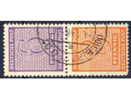 West Saschen, 1945, 6 a 8Pf číslice, razítkované